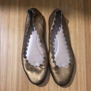 Chloe Lauren Leather Scalloped Ballet Flats